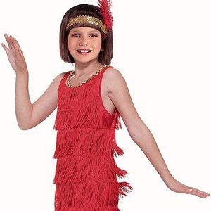 Brand New Red Fashion Flapper Gatsby Child Costume